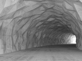 Fototapeta Perspektywa 3d - 3d tunnel interior with chaotic polygonal relief