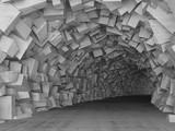 Fototapeta Perspektywa 3d - Turning concrete tunnel interior, 3d render
