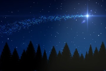 Shooting star over forest at night