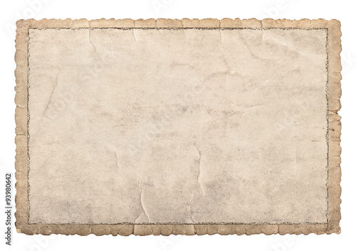 Obraz Old paper frame with carved edges for photos and pictures - fototapety do salonu
