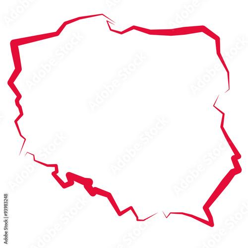 Fototapeta Mapa Polski - kontur  obraz