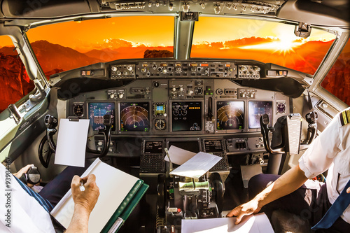Cockpit at sunset Tablou Canvas