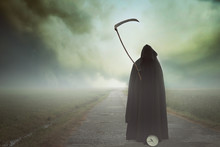Death With Scythe In A Surreal...