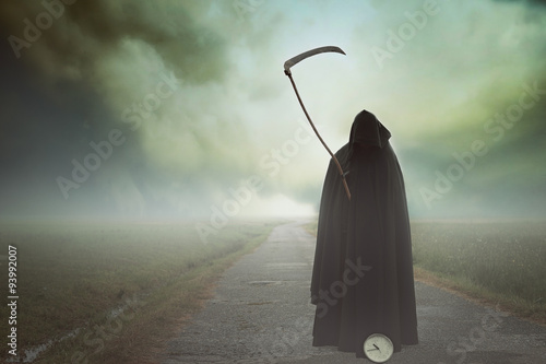 Death with scythe in a surreal landscape Wallpaper Mural