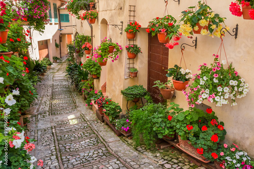 Fototapety, obrazy: Street in small town in Italy in sunny day, Umbria