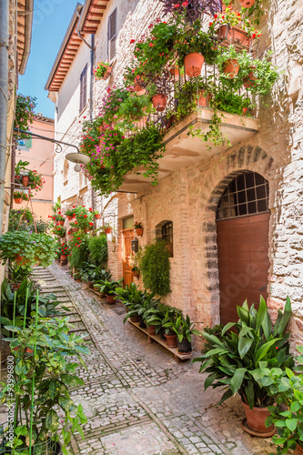 Fototapety, obrazy: Wonderful decorated porch in small town in Italy, Umbria