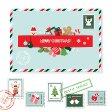 Christmas Envelope And Stamps Set.
