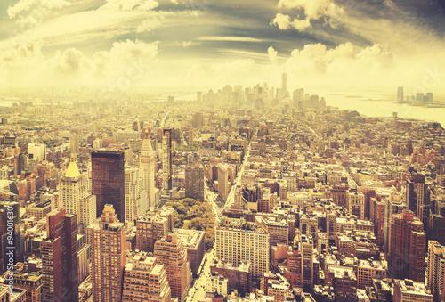 Vintage toned Manhattan skyline, New York City, USA.