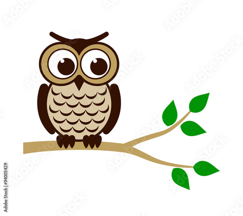 Poster Uilen cartoon Funny owl sitting on branch