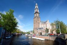 Westerkerk Als Kirche An Gracht In Amsterdam