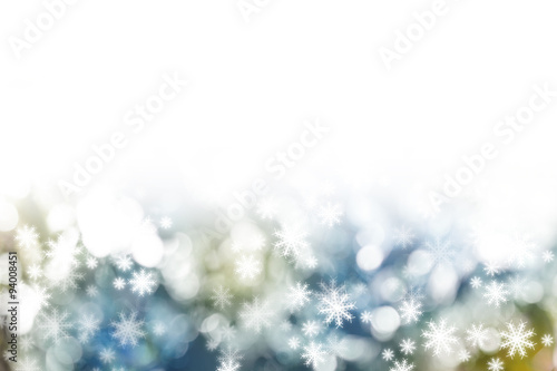 Fototapeta Christmas Snowflakes Blurred Background obraz na płótnie