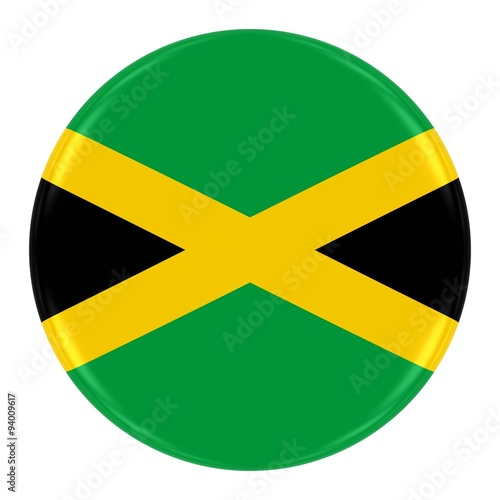 Fotomural Jamaican Flag Badge - Flag of Jamaica Button Isolated on White