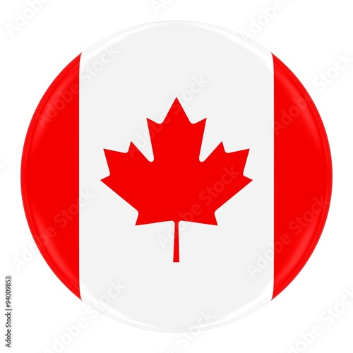 Fotografia  Canadian Flag Badge - Flag of Canada Button Isolated on White