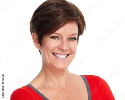 fototapeta na lodówkę Beautiful smiling lady face.