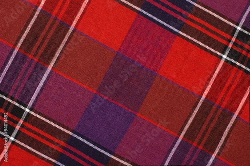 MISPRINTED TWO SIDED TARTAN PRINT RED /& PURPLE ON STRETCH COTTON TWILL FABRIC