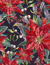 Christmas Floral Seamless Patt...