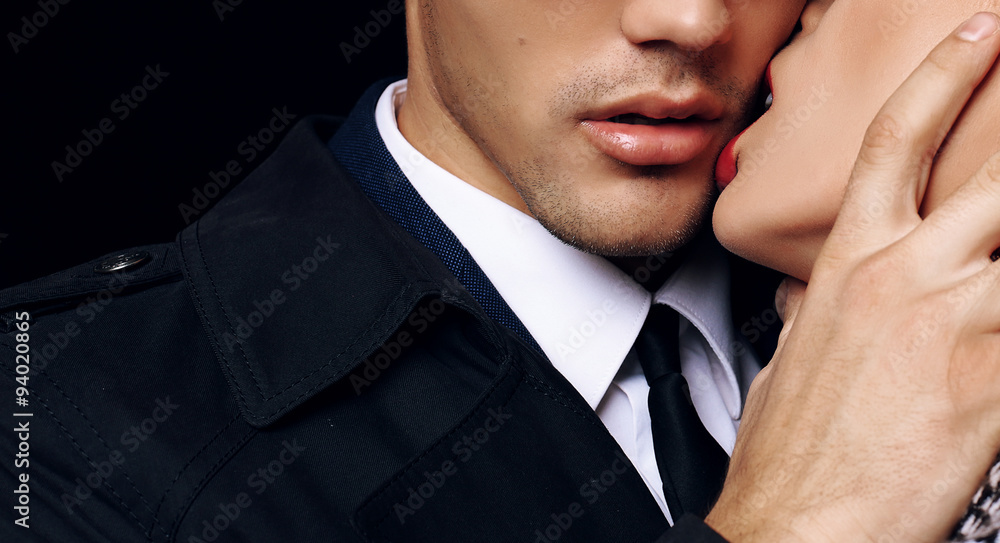 Fototapety, obrazy: beautiful sensual impassioned couple. office love story