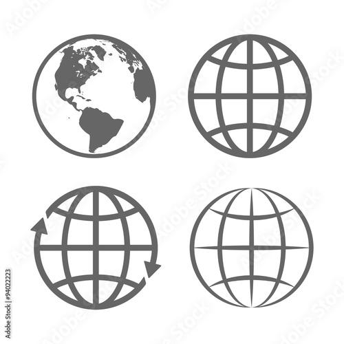 Fotografie, Obraz  Earth Globe Emblem. Logo Template. Icon Set. Vector
