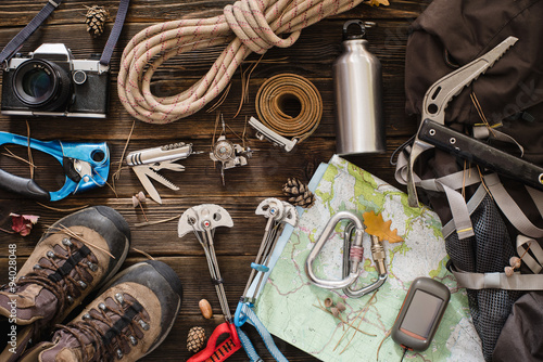 Equipment necessary for mountaineering and hiking Fototapet