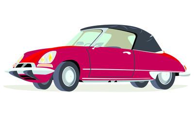 Caricatura Citroen ID19 convertible rojo abierto vista frontal y lateral