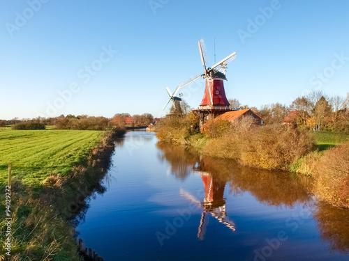 Poster Molens Greetsiel, traditional Dutch Windmill