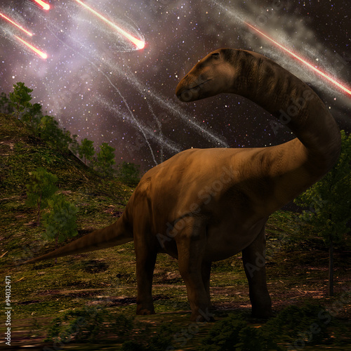 Photo  Extinction Of The Dinosaurs - An apatosaurus looks upon meteors raining down that would precede the larger asteroid strike that would lead to the extinction of the dinosaurs 65 million years ago