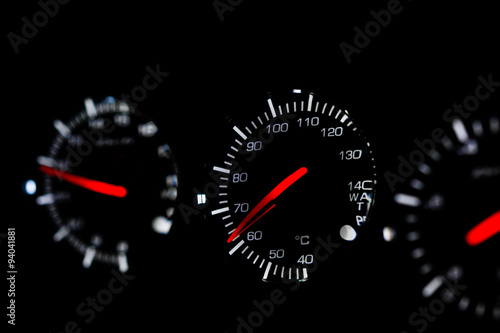 Photo  Speedometer in car for measure the velocity, The equipment gauge in control area of the car, Driver monitor car status with speedometer gauge