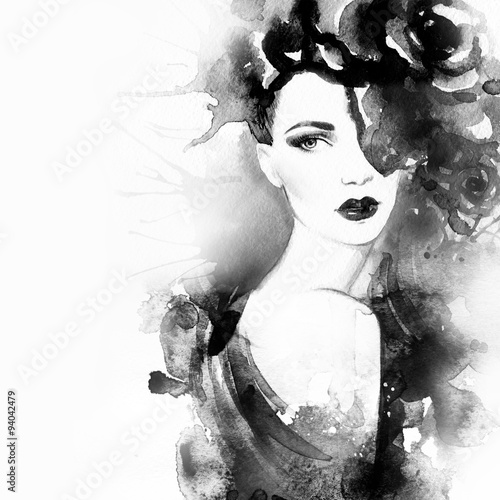 Fototapety, obrazy: Beautiful face. woman portrait. abstract watercolor .fashion background