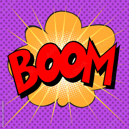 Fotografie, Obraz  Boom explosion text description in the style of comics