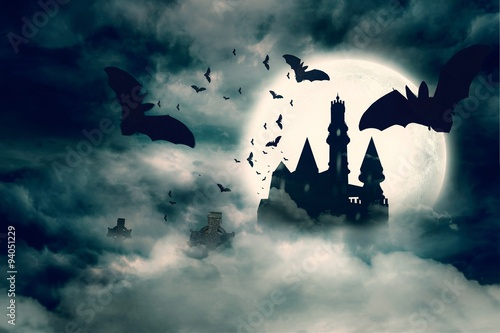 Aluminium Prints Castle Bats flying to draculas castle