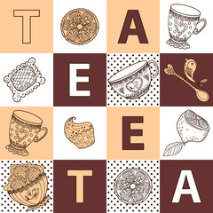 Fototapetaseamless pattern from tea time still life set, sketch, doodle, hand draw. vector illustration