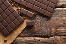 Dark Homemade Chocolate On Woo...