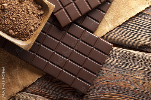 obraz dibond Dark homemade chocolate and cocoa