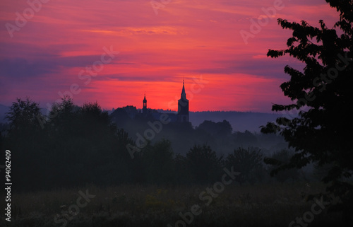 Poster Cracovie Church in sunset
