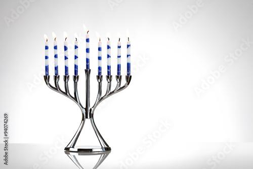 Hanukkah: Menorah With Lit Candles on White Canvas Print