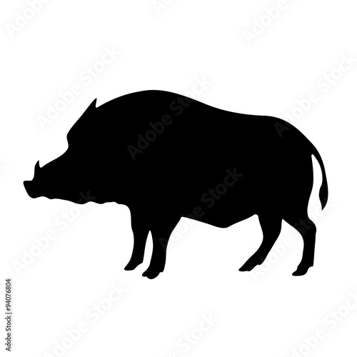 Fotografia Vector black silhouette of the wild boar isolated on white background