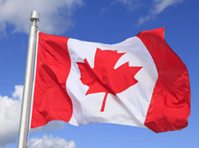 Canadian Flag Waving On The Wind Withe Blue Sky And White Clouds Background