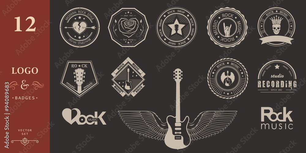Fototapety, obrazy: Set Badges of rock music and rock and roll
