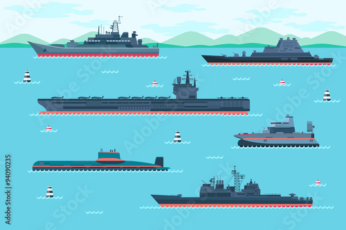 Canvas Print Warship set in flat style