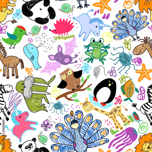 Foto op Canvas Op straat Childrens drawings seamless pattern with animals