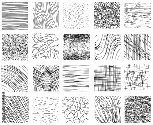 Valokuva  Hatch, dotted and linear ink hand drawn textures vector set