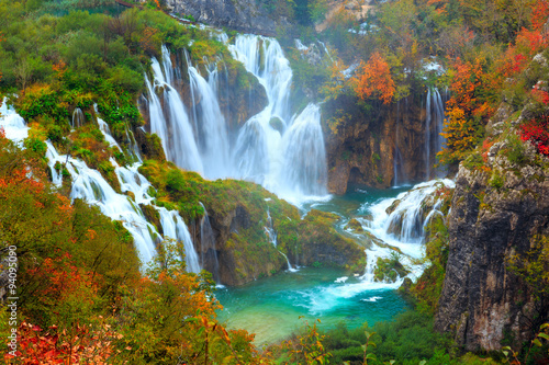 Foto op Canvas Watervallen The waterfalls of Plitvice National Park