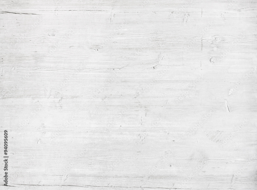 Fototapety, obrazy: White, grey wooden wall texture, old painted pine planks