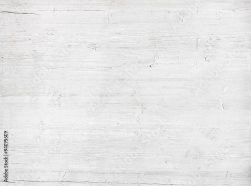 White, grey wooden wall texture, old painted pine planks - 94095609