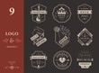 Set of vintage logos of rock music
