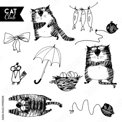 funny cat  character vector cat club set #94100208