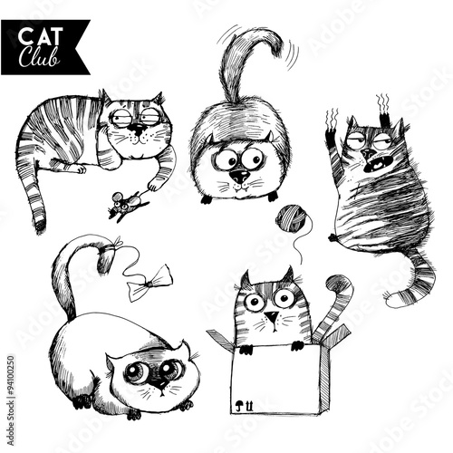 funny cat  character vector cat club set #94100250