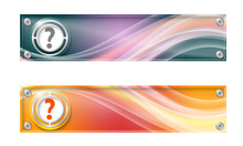 Set Of Two Banners With Colored Rainbow And Question Mark