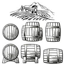 Wooden Barrel Set And Rural La...