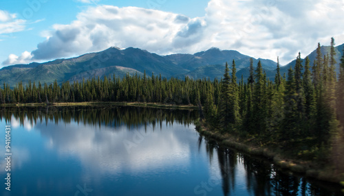 Photo Stands Reflection Lake and Mountian Range